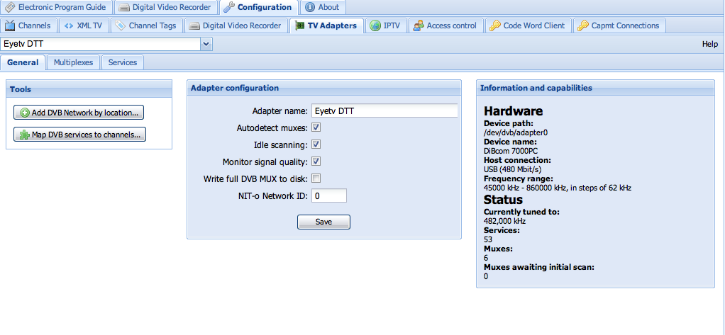 Interface de configuration de Tvheadend