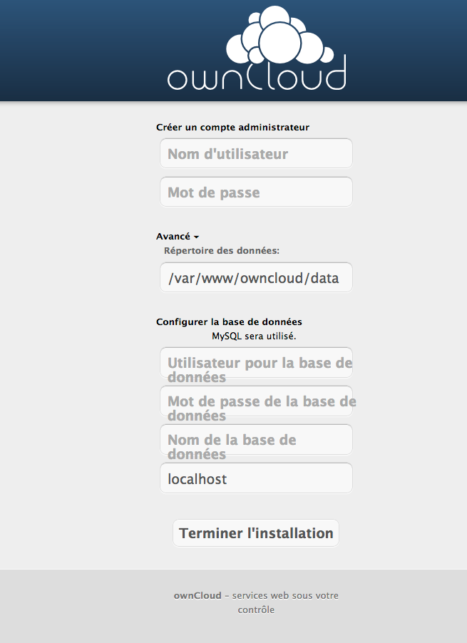 Installation d'owncloud